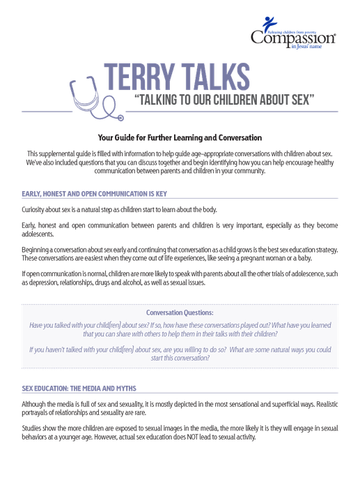 Start Conversations Early About Drugs >> Terry Talks Talking To Our Children About Sex Discussion Guide