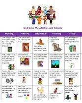 Supplemental Curriculum - Unit 6 - Calendar God Gave Me Abilities and Talents