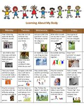 Supplemental Curriculum - Unit 9 - Calendar Learning About My Body