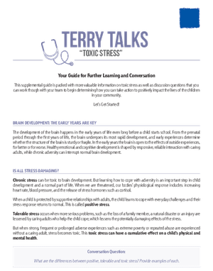 A Guide To Toxic Stress And Its Effects >> Terry Talks Toxic Stress Discussion Guide Forchildren