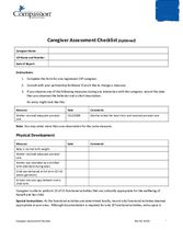 Document 9: Assessments and Questionnaires: Caregiver Assessment Checklist