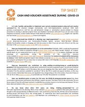 COVID-19 Cash and Voucher Assistance Tip Sheet